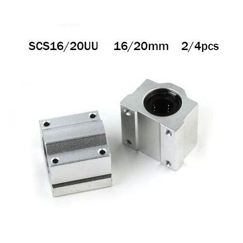 Sc16uu Sc20uu 2/4pcs Linear motion ball bearings cnc parts slide block bushing for 16/20mm linear shaft guide rail CNC parts