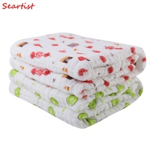 ФОТО born 100Cotton Blanket Infant 6 Layers Cute Gauze Bath Towel Baby Boys Girls Swaddle Blankets Hold Wraps 100cm100cm C18