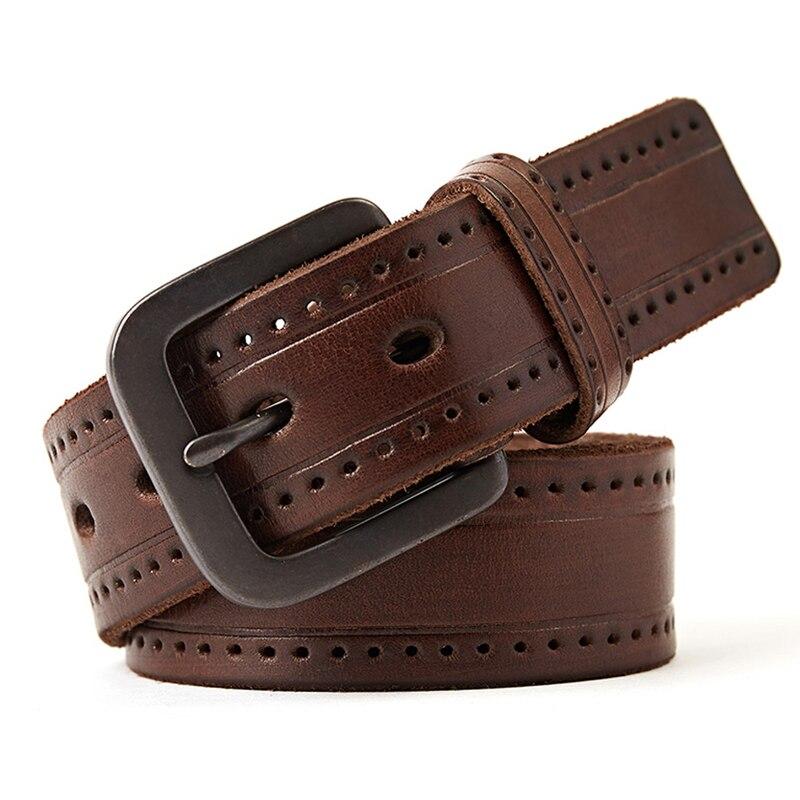 Genuine Leather Belt Men Luxury Vintage Cowhide  Men's Belts Brown Color Jeans Buckle Strap Good Quality  Large Size