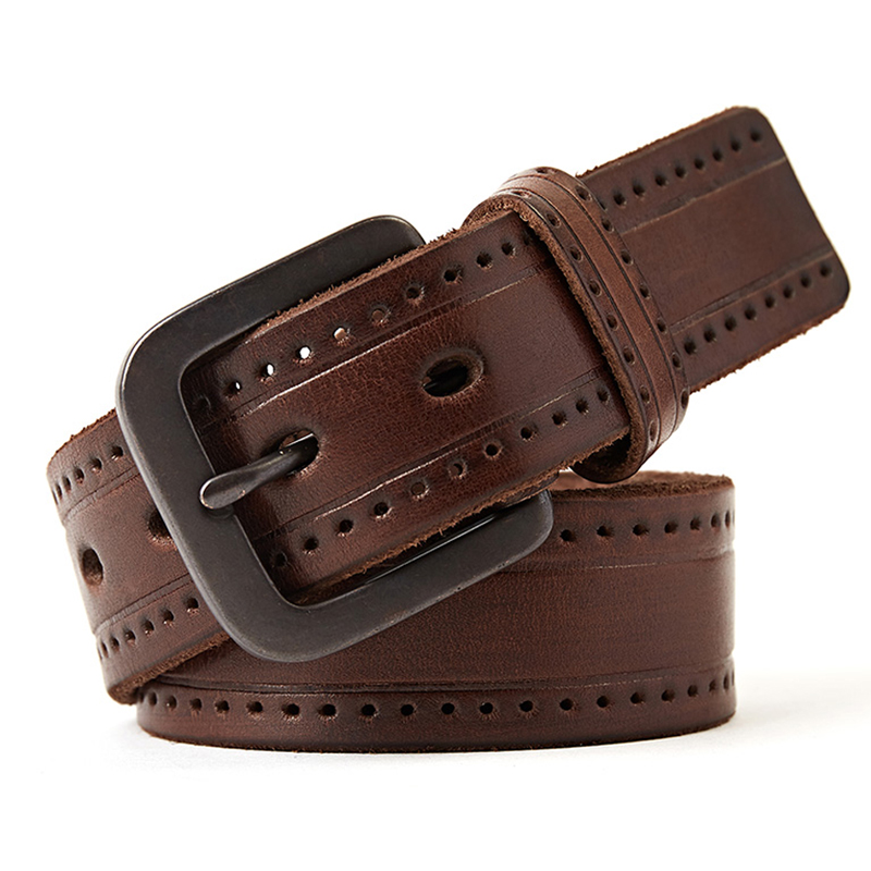 genuine leather belt men luxury vintage cowhide mens belts brown color jeans buckle strap good quality large size