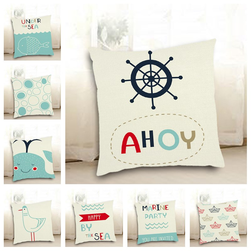 Cartoon Marine Party Organism Fish Boat Rudder Printed Cushion Cover Pillowcase Square 45*45cm Home Sofa Seat Decor Shams Q6052