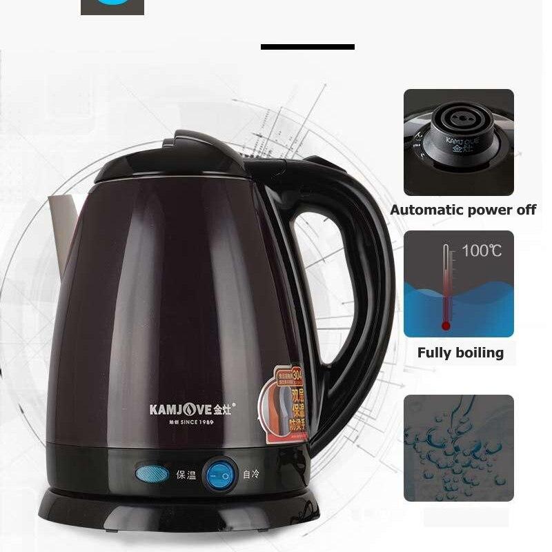 KAMJOVE E15 Нержавеющая сталь высокой мощности Электрический чайник сохранение тепла Электрический чайник автоматическое выключение двойной ч...
