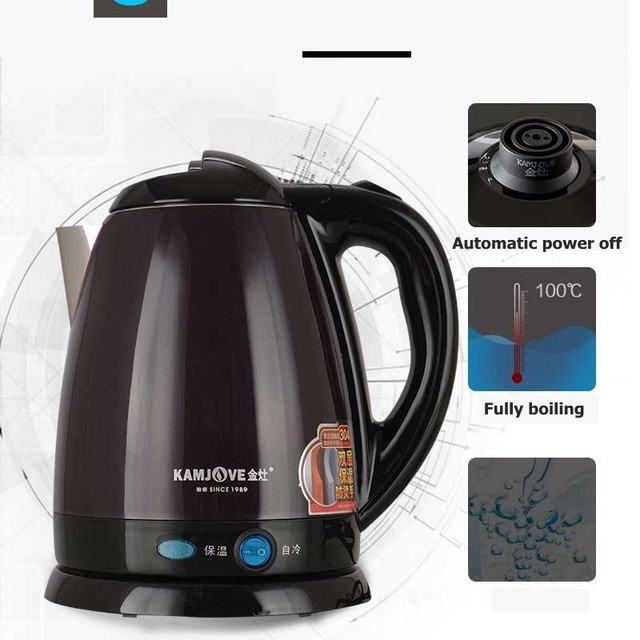 KAMJOVE E15 stainless steel High power electric kettle Heat preservation electric teapot automatic power off double kettle