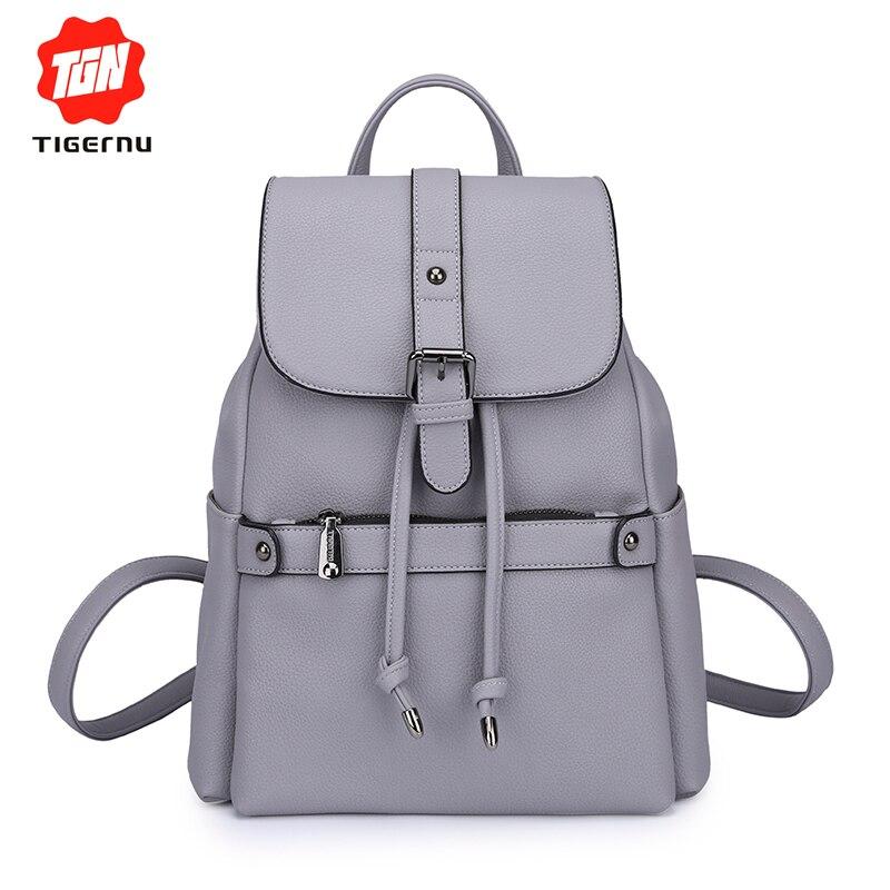 168f9f0517f4 Tigernu Для женщин кожаный рюкзак модные Школьные ранцы путешествия мягкий  Mochilas Mujer Бесплатная доставка