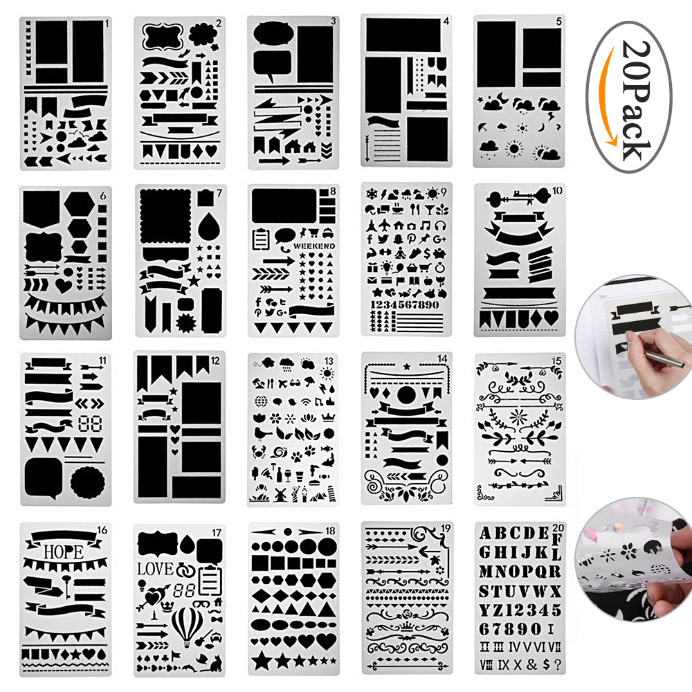 Bullet Journal Stencil Set 12/20 Pcs Plastic Planner DIY Drawing Template for Diary Notebook Scrapbook Craft cutting dies