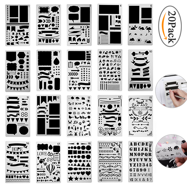 bullet journal stencil set 12 20 pcs plastic planner diy drawing template for diary notebook