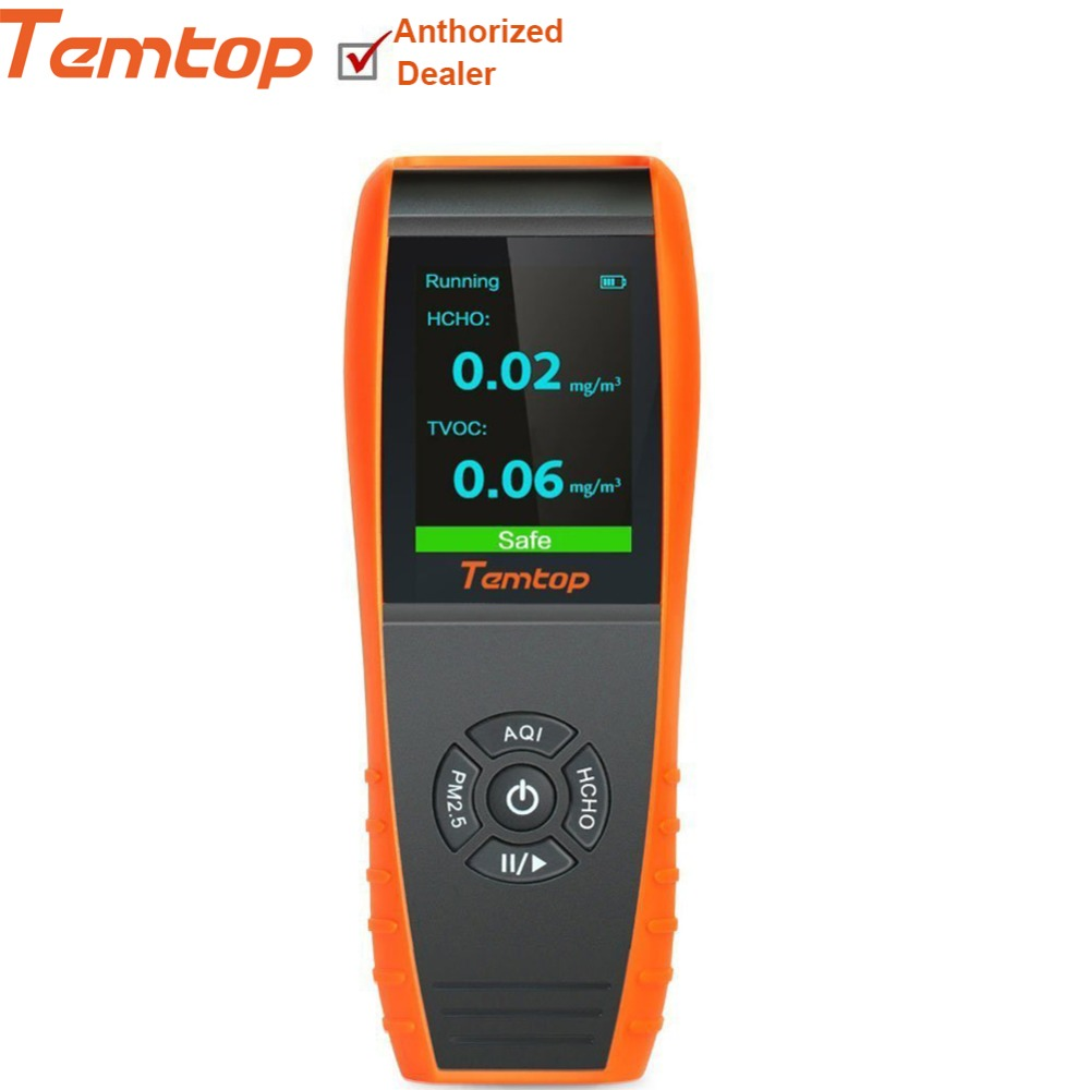 Qualità dell'aria Rivelatore di Formaldeide Professionale Monitor di Temperatura e di Umidità Rivelatore con PM2.5/PM10/HCHO/AQI/Particl