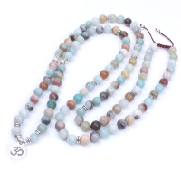 108 Amazonite Beads And Ancient Silver Charm Pendant Necklace Dropshipping Yoga Mala Necklace Natural Stone Meditation