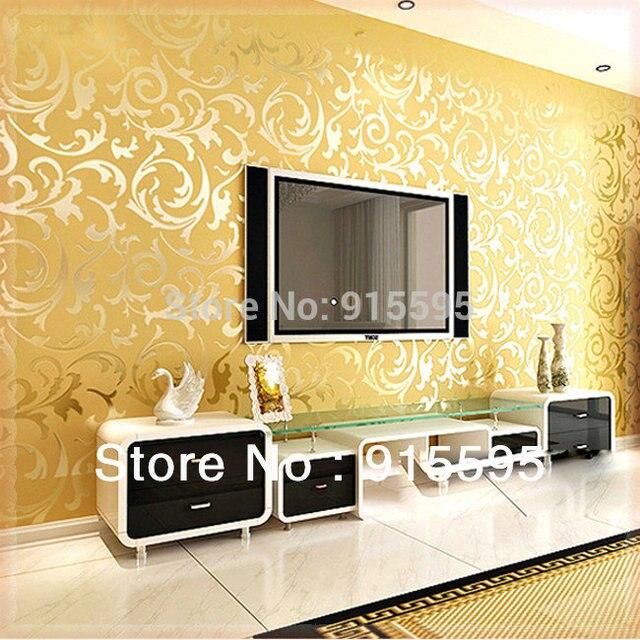 Golden Silver PVC 3D Embossed TV Background Wallpaper Mural Wall ...