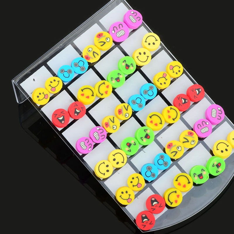 24 Pairs Mixed Cute Facial Expression Polymer Clay Stud Earrings Cartoon Earring For Women Girls Jewelry Gift