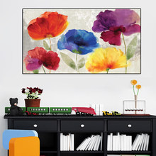 70x140cm - Canvas Prints Wall Decor, Modern Watercolor Canvas Painting Hand Painted Colorful Flower Wall Art Picture for Bedroom(China)