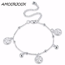 AMOURJOUX Beautiful Tree Charm Silver Plated Anklets For Women Ankle Bracelet On The Leg Anklet Silver Foot Jewelry