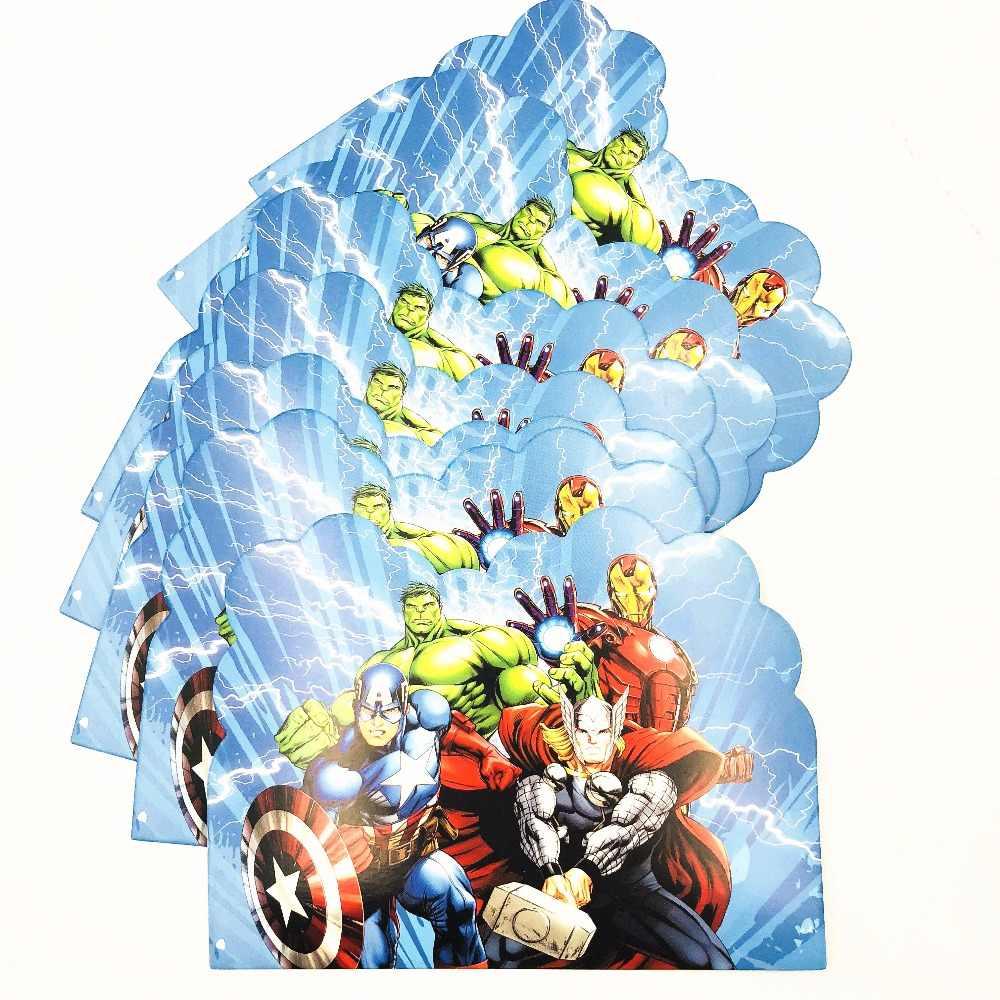 10 Pcs Avengers Kartu Undangan Tema Pesta Kertas Pesta Ulang Tahun Bayi Shower Perlengkapan Pesta Perlengkapan Set
