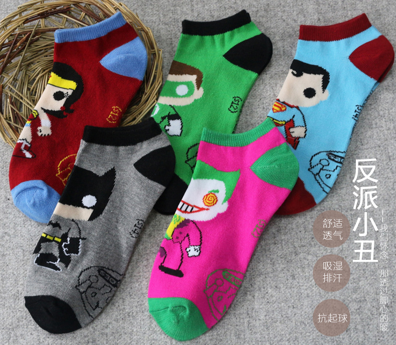 5Pairs/Lot Superman Green Lantern Costume Socks The Flash Wonder Woman Batman Ankle Socks Boat Slippers Tube Socks