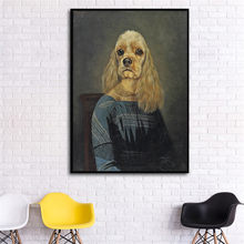 Wall Art Rerto Animal Dog Poster Print Big Vintage Canvas Picture for Living Room Hippie Home Deco Abstract Painting No Frame(China)