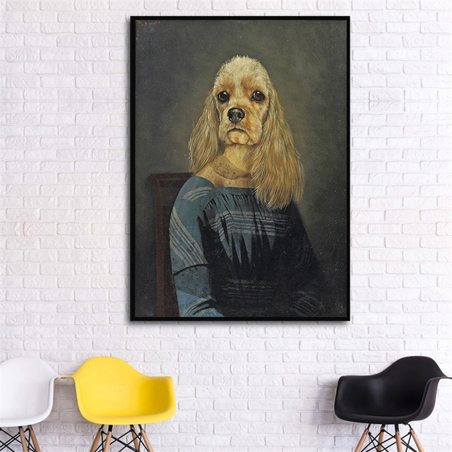 Wall Art Rerto Animal Dog Poster Print Big Vintage Canvas Picture for Living Room Hippie Home Deco Abstract Painting No Frame