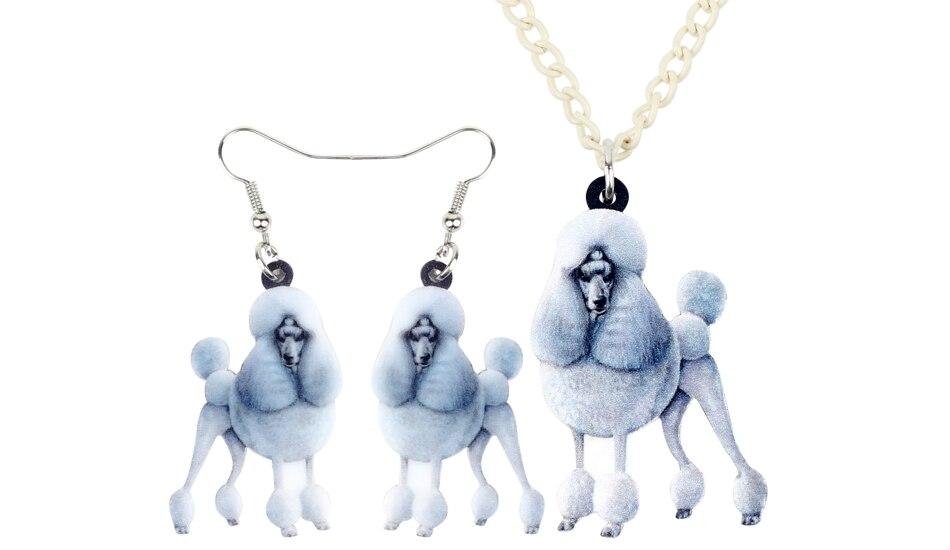 Acrylique Floral Caniche Chien Collier Pet Pendentif Collier Bijoux Pour Femme Enfant Cadeau
