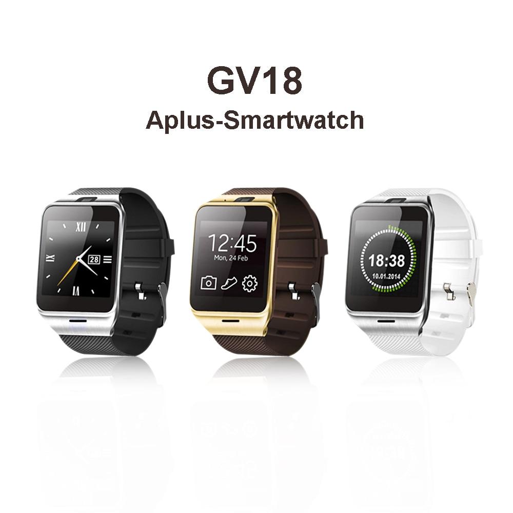 imágenes para Aplus Gv18 Reloj Teléfono Inteligente Bluetooth Reloj de Pulsera Reloj Inteligente Android Dispositivo Portátil Soporte SIM NFC FM Inteligente Para Android/IOS