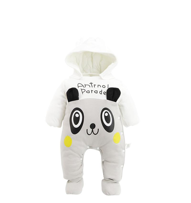 Boys And Girls Clothing Thick Cartoon Panda Rompers Newborn Clothes Baby Babies Jumpsuits Clothes Kids Winter Cotton Swimwear 2016 hot baby rompers boys girls cartoon short sleeve baby rompers cotton newborn baby clothes jumpsuits clothing mama printed