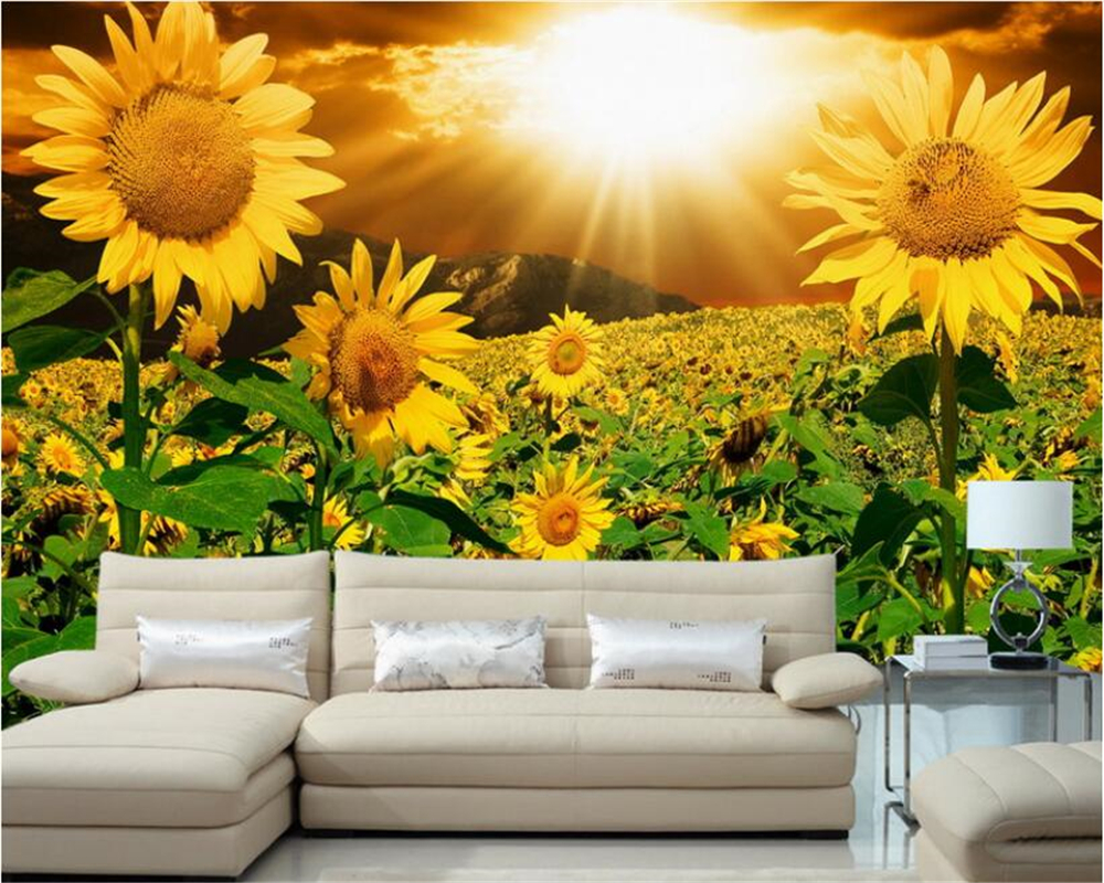 Us 885 41 Offbeibehang Papel De Parede Fashion Kecantikan Menggoda Indah Kertas Dinding Sinar Matahari Bunga Matahari Bunga Latar Belakang Dinding