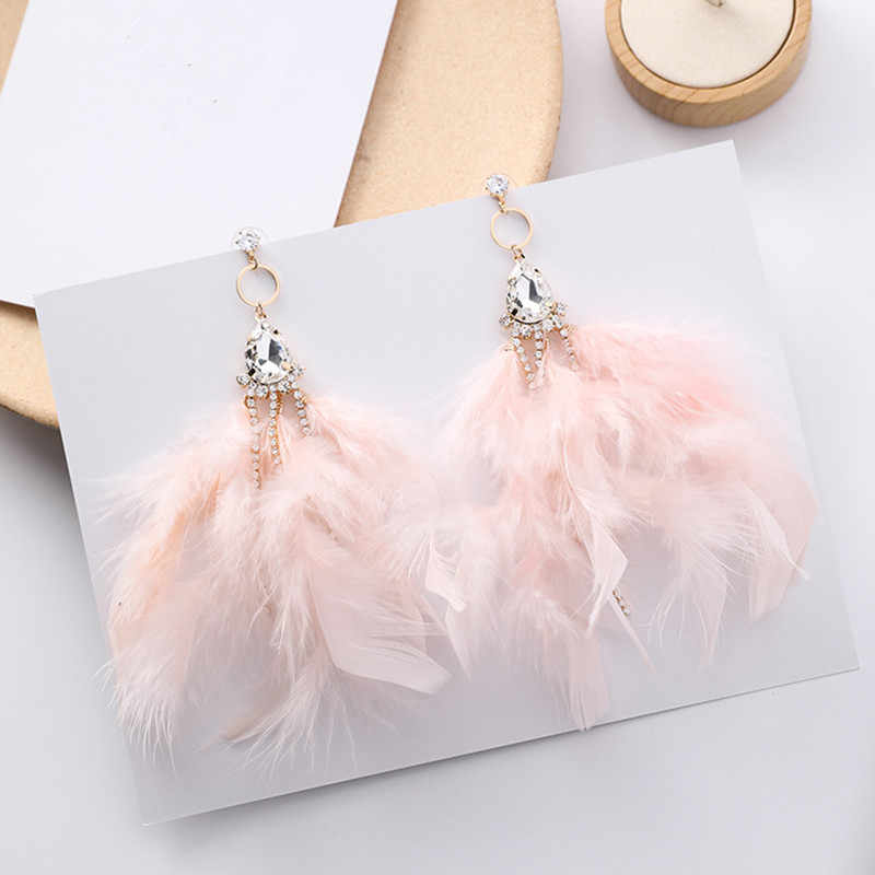 Fashion Colorful Feather Earrings For Women Luxury Water Drop Rhinestone Long Tassel Temperament Pendientes Mujer Moda EC1172