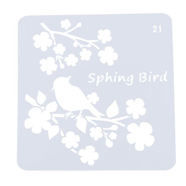 Kwiat Ptak Styl Plastikowe Szablon Rysunek Szablony Malowanie Diy