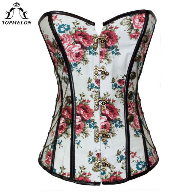 640d6b5a88 TOPMELON Sexy White Corset Steampunk Bustier Gothic Corselet Women Vintage  Retro Chains Flower Floral Pattern Steel Boned Tops