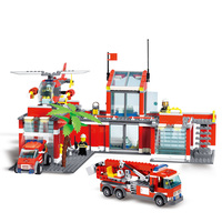Building Blocks Legoing City Fire Station Model Fire Fighting Friends fingure bricks Educational Toys For Children