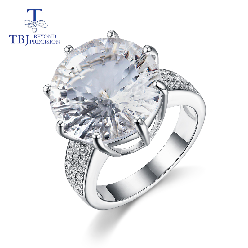 TBJ white quartz rings big size star cuting round natural gemstone 925 sterling silver fashion design