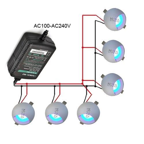 Ac100v к AC240V 1 Вт один водитель 6 Освещение parellel связи Простое подключение встраиваемый настенный светильник led