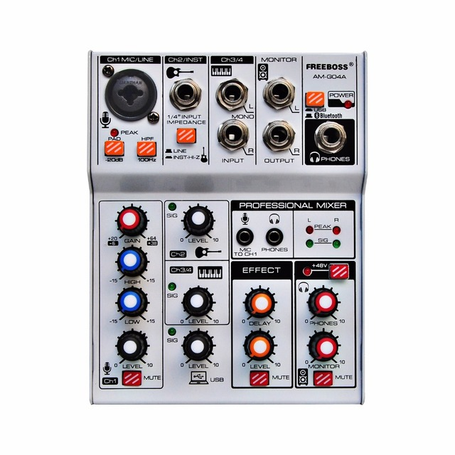 AM G04A Bluetooth Record Multi purpose 4 Channels Input Mic Line Insert Stereo USB Playback Professional Audio Mixer