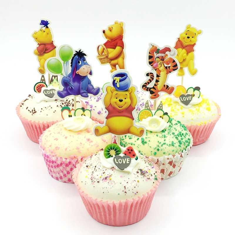 24 шт милый медведь винни пух обертка для кексов Топпер мешок выбрать Беби Шауэр детский день рождения Свадебные товары для украшения торта
