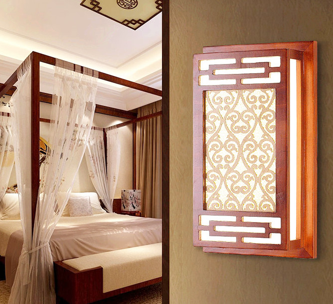 Chineses red wood art wall lamps Modern classic white parchment E27 LED chips lamp for bedroom&porch&stairs&studio QLBD008