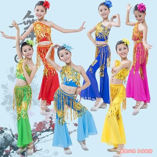 Clothing Fish-Tail-Skirt Peacock Dance-Serve Paillette-Pants Girl Show Dai Juvenile Children