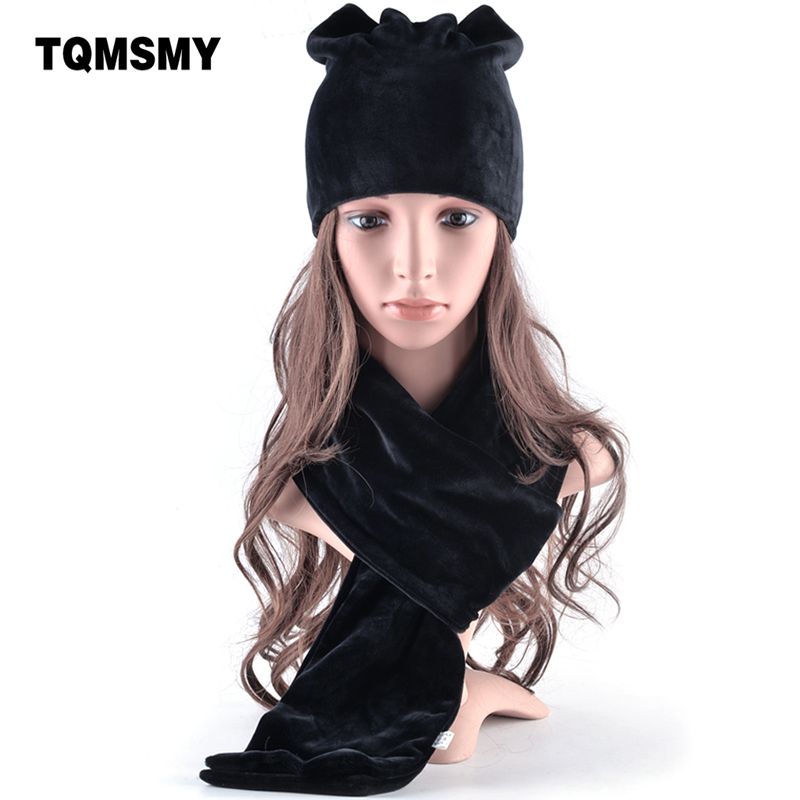 TQMSMY Spring Winter Women's Hat Skullies Beanies Hats Cap Woman Polyester Knitted Hat Casual Velvet Women warm set scarf TMDH20 skullies brand 2017 women s hat skullies beanies polyester knitted hats beanie hat spring casual velvet women beanies hats