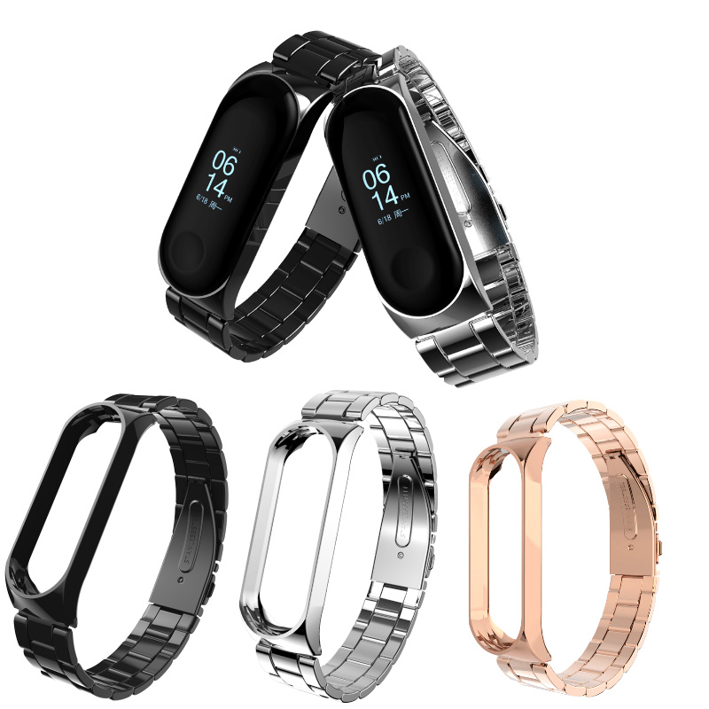 Stainless Steel Wrist Strap Replaceable Watch Straps For Xiaomi Mi Band 3 Metal Watch Band Smart Bracelet Miband 3 Wristband