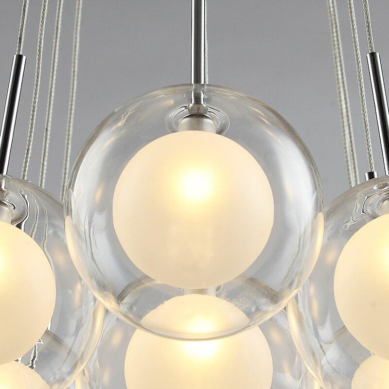 Moderna iluminação led lustre nordic bola de vidro lâmpada sala estar pendurado luzes casa deco sala jantar quarto luminárias - 5