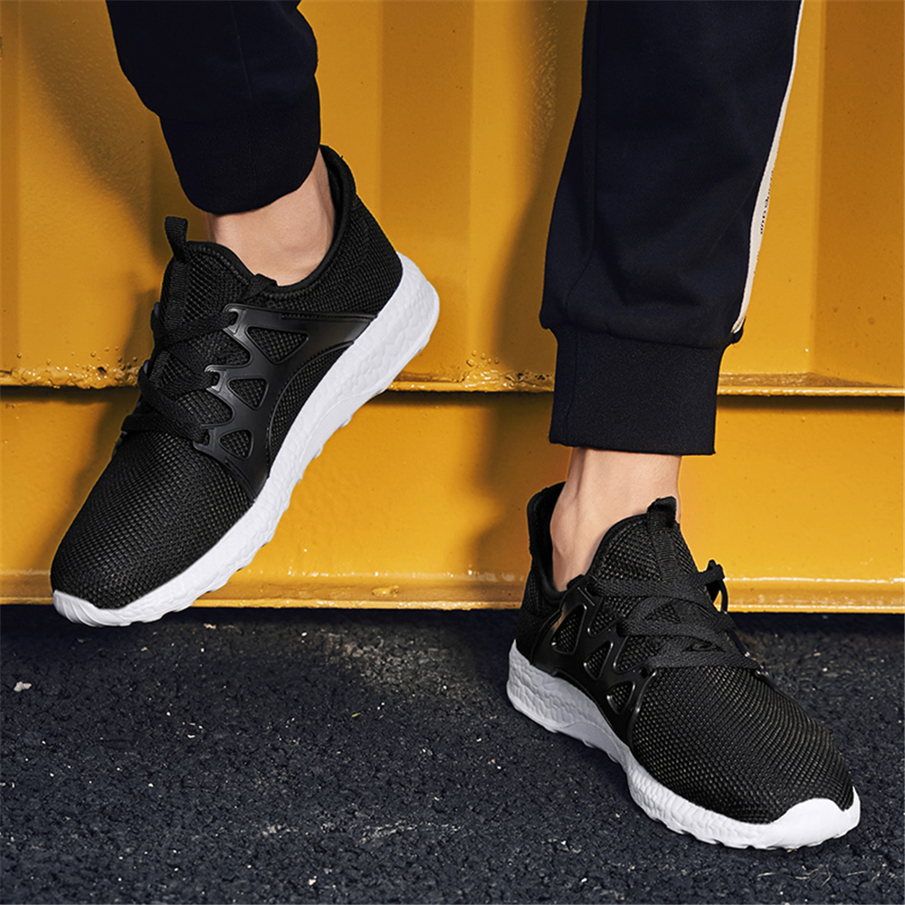 Sneakers Men Sport Shoes Lace Up Beginner Rubber Fashion Mesh Round Cross Straps Flat Sneakers Running Shoes Casual Shoes in Running Shoes from Sports Entertainment