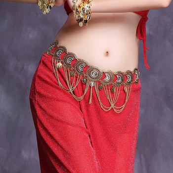 Women Belly Dance Accessories Waist Belt Belly Chain Jewelry Body Chain with Chain Swags Rhinestone Medallion Metal Coins Belt salircon fashion multi layered waist chain belt for women gold color chain imitation pearl leather belly chain sexy body jewelry