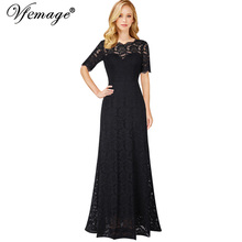 Vfemage Women Elegant Sexy See Through Floral Lace Retro Formal Wedding Evening Party Special Occasion Maxi Long Gowns Dress 391