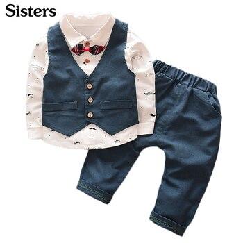 2018 Mùa Xuân Mùa Thu Phong Cách Mới trẻ em quần áo Áo Sơ Mi + vest + quần 3 cái phù hợp với Quý Ông Ăn Mặc Lên