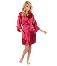 Plain Short Robes Sexy Women Bathrobe Bridesmaid/Bride Satin Robes Silk Kimono Robe Ladies Dressing Gowns(China)