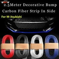 Hot Sale 250cm Car Font Bumper Lip Kit Carbon Fiber Rubber Soft Strips Encirclement FOR Lancer