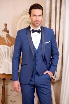 One Button Blue Groom Tuxedos Shawl Lapel Groomsmen Mens Wedding Prom Suits (Jacket+Pants+Vest+Tie) NO:253