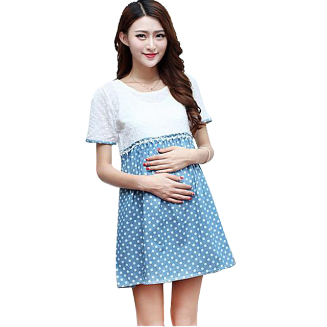 2016 New Maternity Dresses Lace Crochet Dots Causal Maternity ...