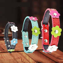 Cute Cat Collar Flowers Studded Leather Puppy Dog Collars Pet  for Chihuahua Yorkies Supplies