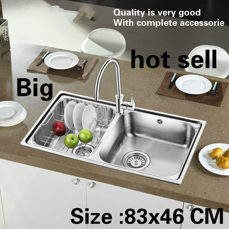 Free Shipping Household Big Vogue Kitchen Double Groove Sink Wash Vegetables 304 Stainless Steel Hot Sell 83x46 CM