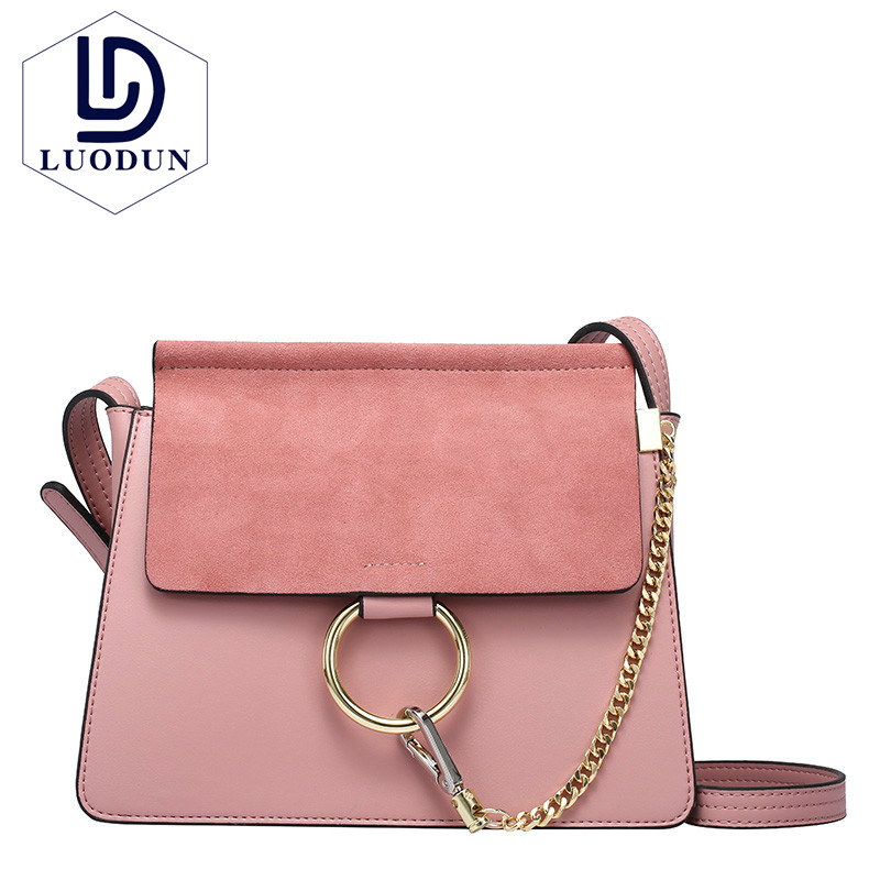 2018leather handbag fashion leather round bad bag chain shoulder scrub Europe and the Un ...