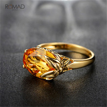 Romad Gold Color Big Stone Wedding Ring Austrian Crystal Leaves Shape Finger Ring For Women Girl Jewelry цена 2017