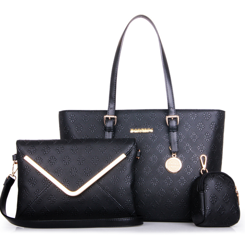 ФОТО 2017 western style diamond pattern lady's shoulder composite handbag high-capacity office ladies' large bag with massage bags